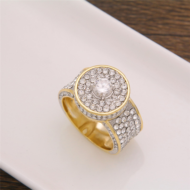 LuReen Hip Hop Rhinestone Round Ring Men Punk Gold Silver Finger Rings Male 5 Size Anel Fashion Jewelry Party Gift LR06027