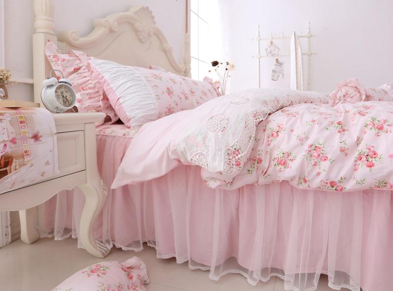 100% 코튼 한국어 공주 스타일 레이스 걸스 3/4 pcs 이불 커버 이불 커버 침대 스커트 베개 커버 세트 핑크 꽃-에서침구 세트부터 홈 & 가든 의  그룹 3