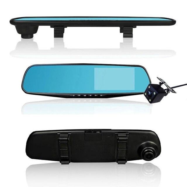 Full HD 1080P Car DVR Camera Auto 4.3 Inch Rearview Mirror Dual Lens