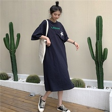 Women Maxi Dress Summer Casual Short Sleeve Fake Two-piece Printed Long Dresses Female