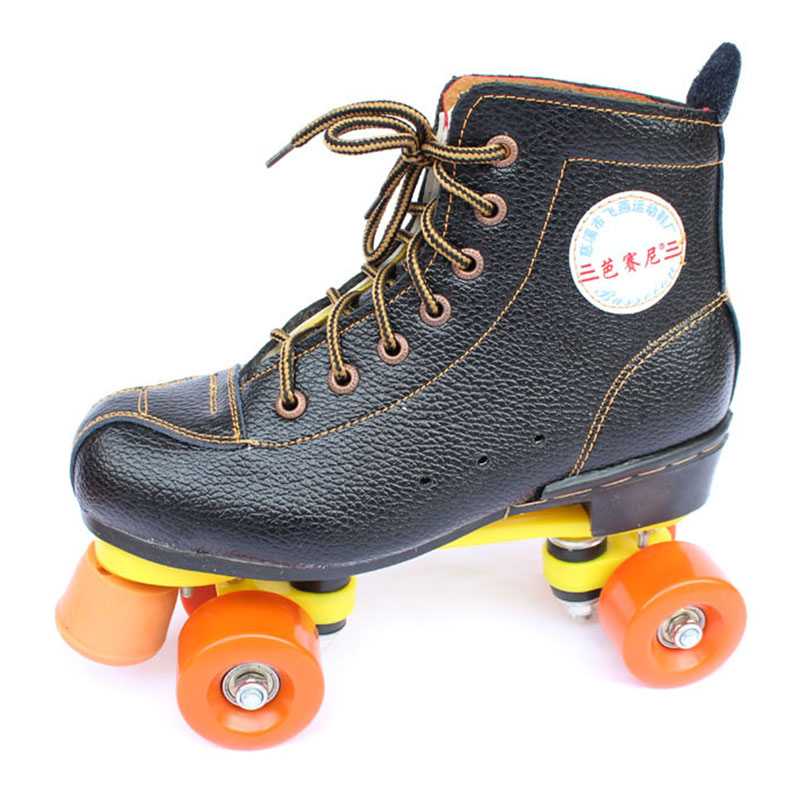 ФОТО Women Men's Roller Skates Cow Leather Patins Quad Double Line Skating Shoes 4 Wheels Roller Shoes