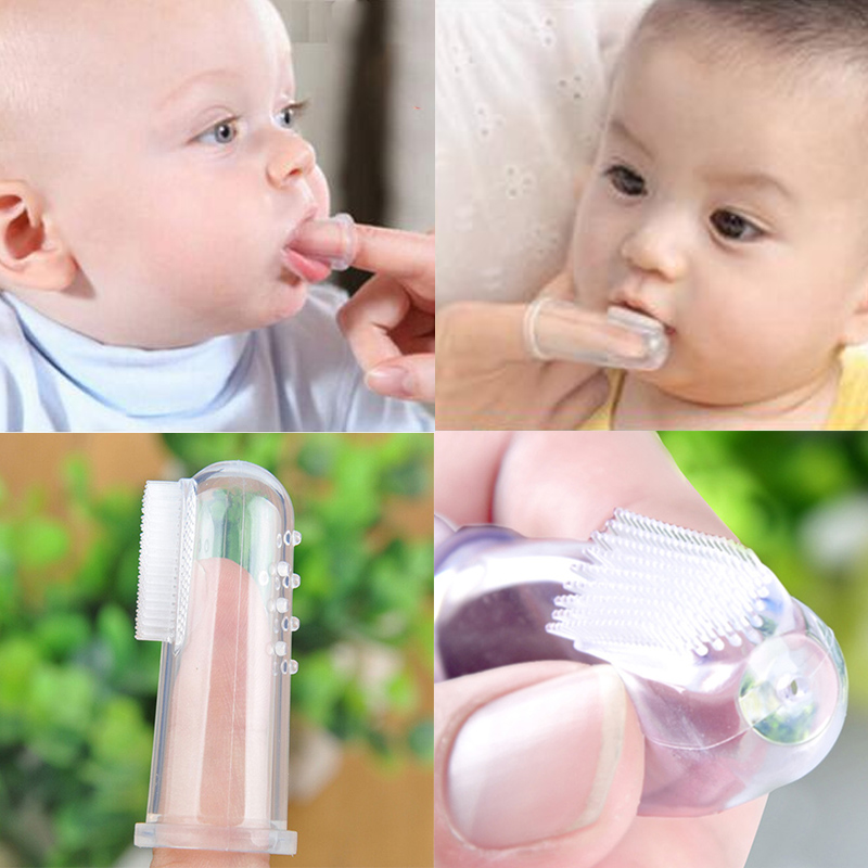 Baby Finger Toothbrush Silicon Toothbrush+Box Children Teeth Clear Soft Silicone Infant Tooth Brush Rubber Cleaning image