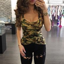 Women Tank Tops 2017 Summer Women Blouses Strapless Sleeveless Digital Print Casual Camouflage Green Army Tank Tops Ladies' Vest