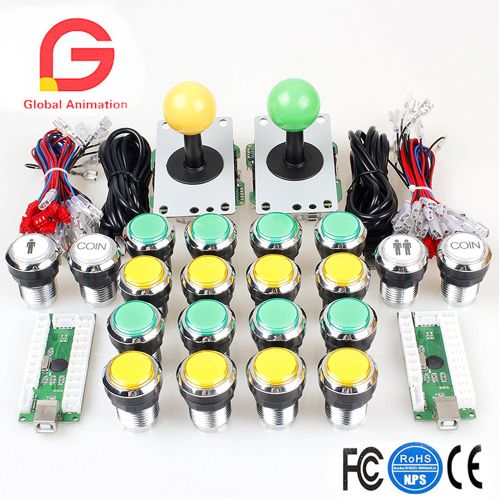 2 Player Arcade Kit High Quality Joystick and Chrome Plated Buttons for MAME PC Game Street Fighter & Tekken 7 & Raspberry pi 3 2015 new hot high quality acrylic pc usb arcade joystick gamepad game controller joypad plug and play handle free shipping