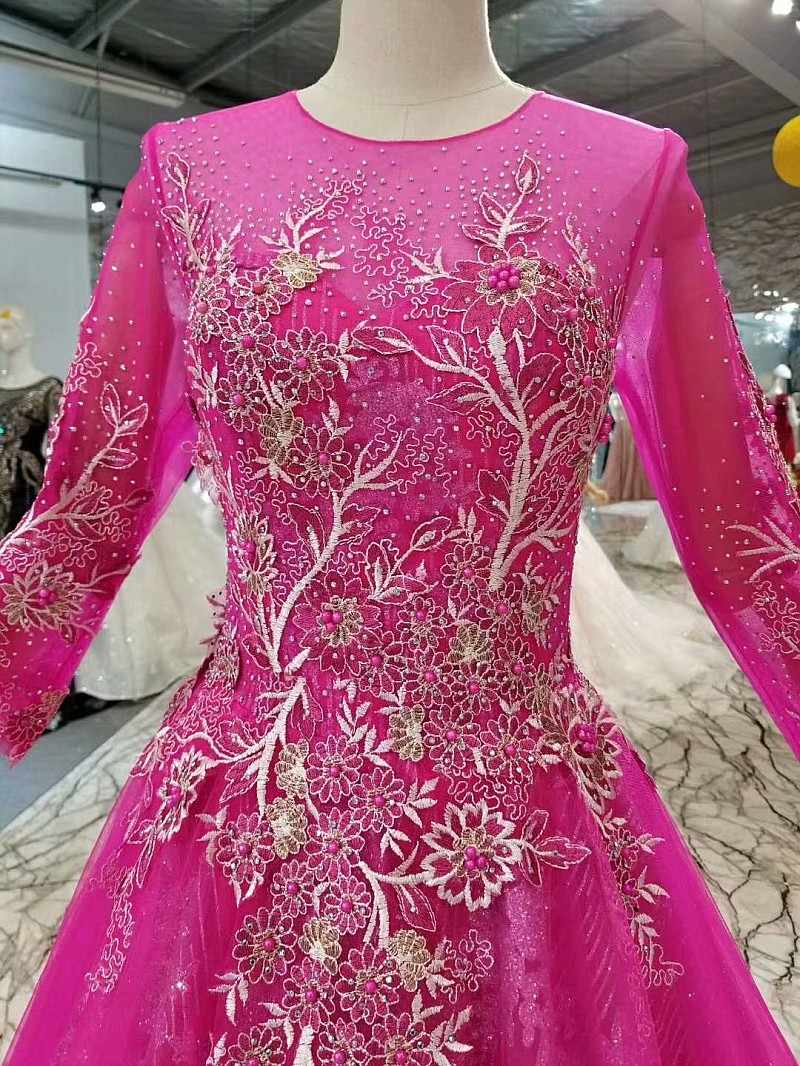 LS247911 magenta beleza meninas pageant vestidos de festa vestidos de noite longos muçulmanos simples a linha escova de trem outono vestido do baile de finalistas