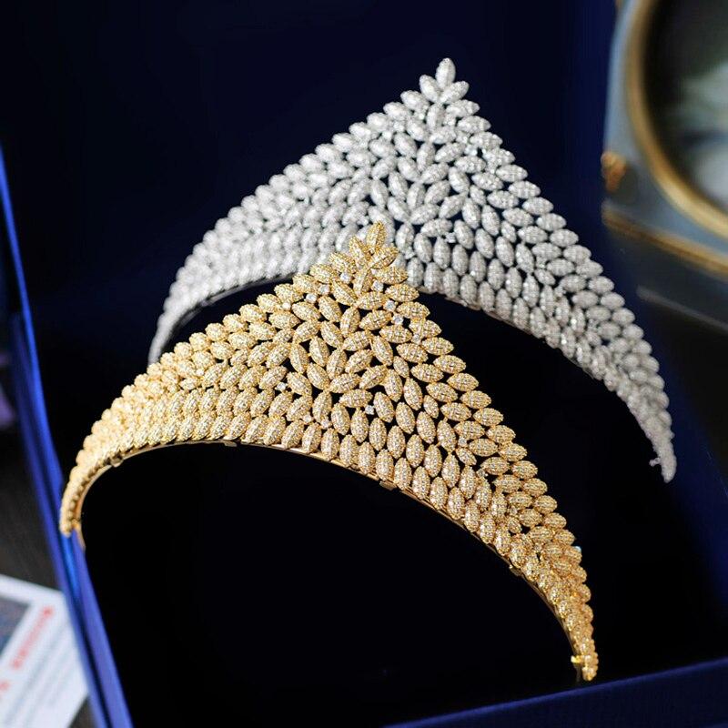 Couleur or de luxe Zircon diadème couronne reine coiffure de mariage bijoux de cheveux Micro incrustations cubique zircone bandeau femmes casque