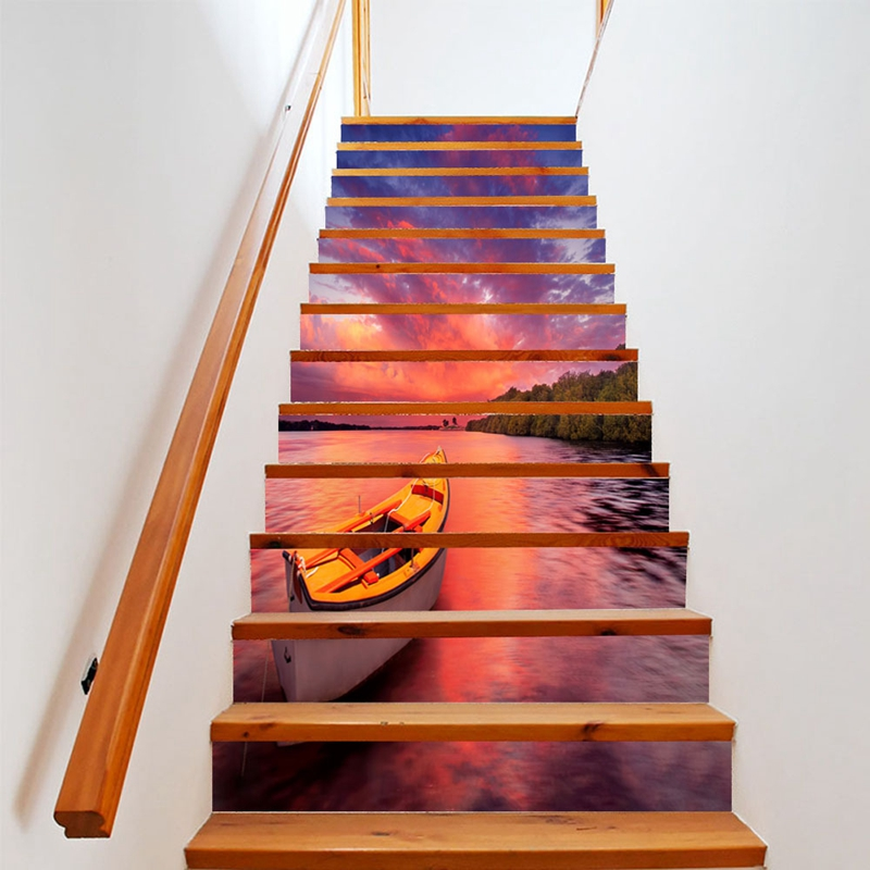 18*100cm PVC Creative 3d Vinyl Wallpaper DIY Stairway Stickers Stairs Decoration Pattern Steps Floor Wall Sticker Home Decor