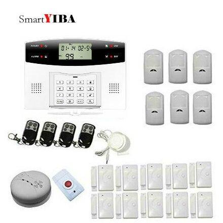 SmartYIBA Wireless GSM Alarm System With 433MHz Sensor Voice Security Alarm Kits Smoke/Fire Alarm For Home Security 433mhz 315mhz wireless smoke sensor for gsm alarm system