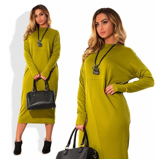 2017 Big Size Autumn Dress Fashion Women Clothing Casual O-Neck Plus Size Bodycon Winter Long Sleeve Office Women Dress Vestidos