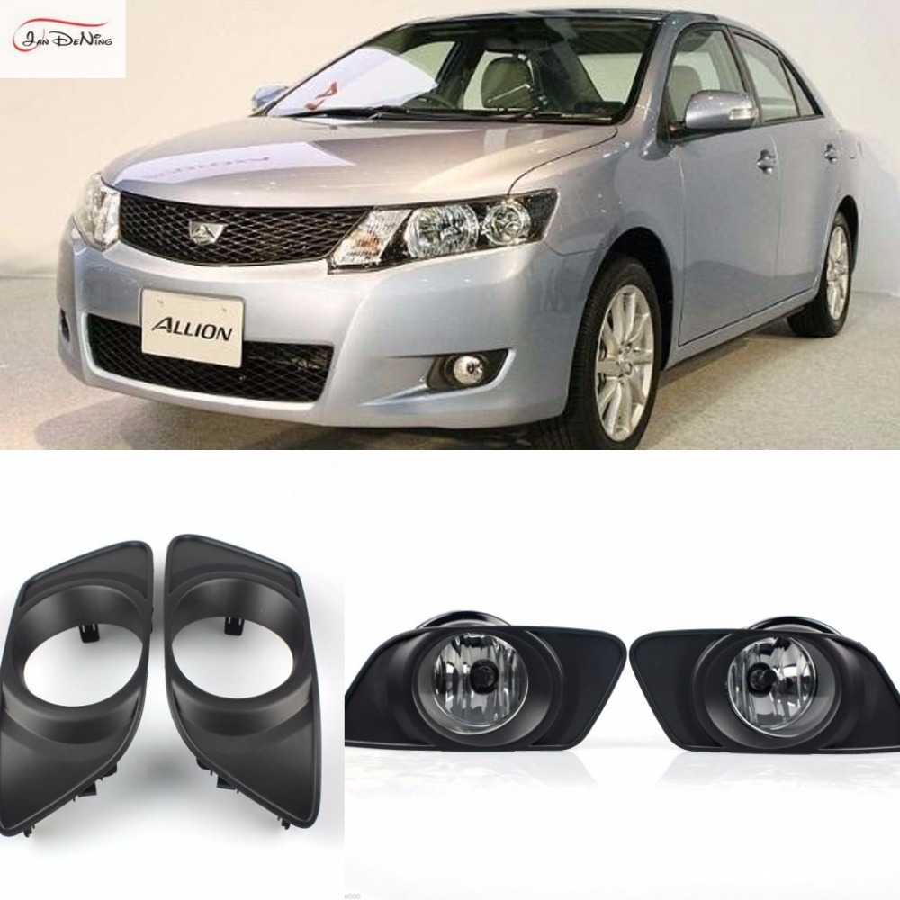 JanDeNing For TOYOTA ALLION MODELLISTA 2008 2009  Clear Front Fog Lamp Cover Trim Replace assembly kit black (one Pair) 1set front chrome housing clear lens driving bumper fog light lamp grille cover switch line kit for 2007 2009 toyota camry