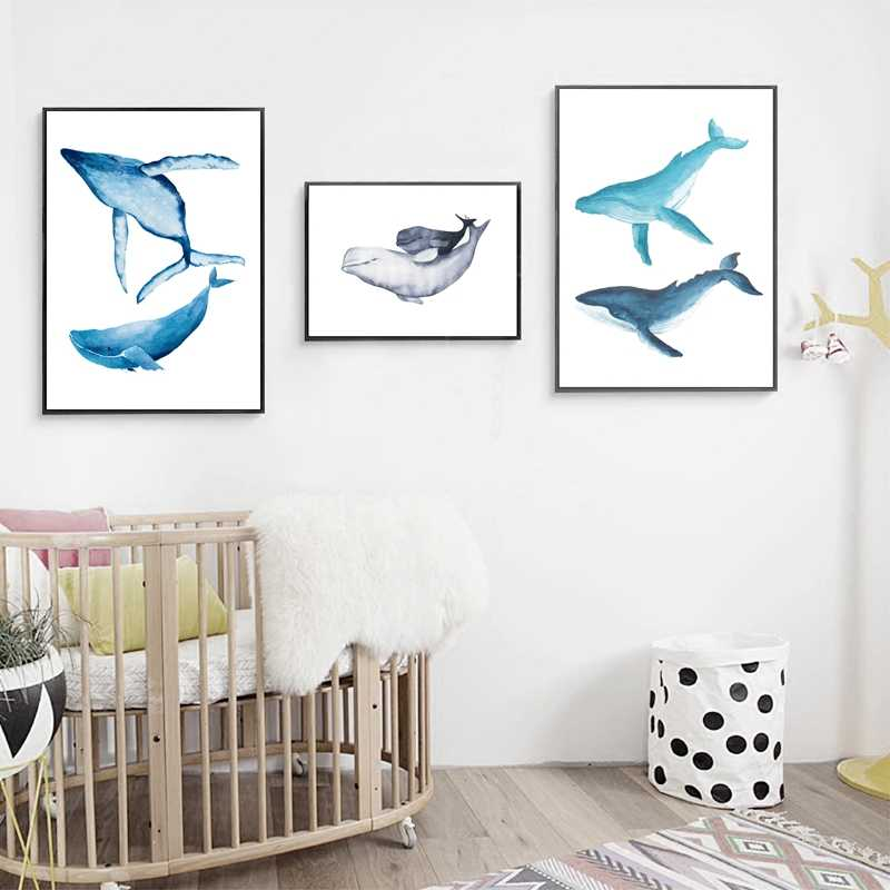 Màu Nước Cá Voi Dolphin Vẽ Tranh Tường Nghệ Thuật In Hình