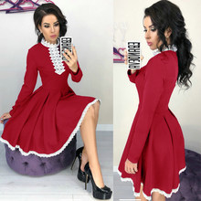 Women Autumn Winter Dress Sexy Crochet Lace Patchwork Dress Elegant Ladies Office Long Sleeve Splicing Party Dress(China)
