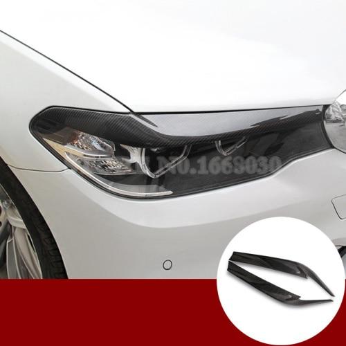 Carbon Fiber Headlight Eye Lid Eyebrow Trim Cover For BMW 5 Series G30 2017 2018 2pcs