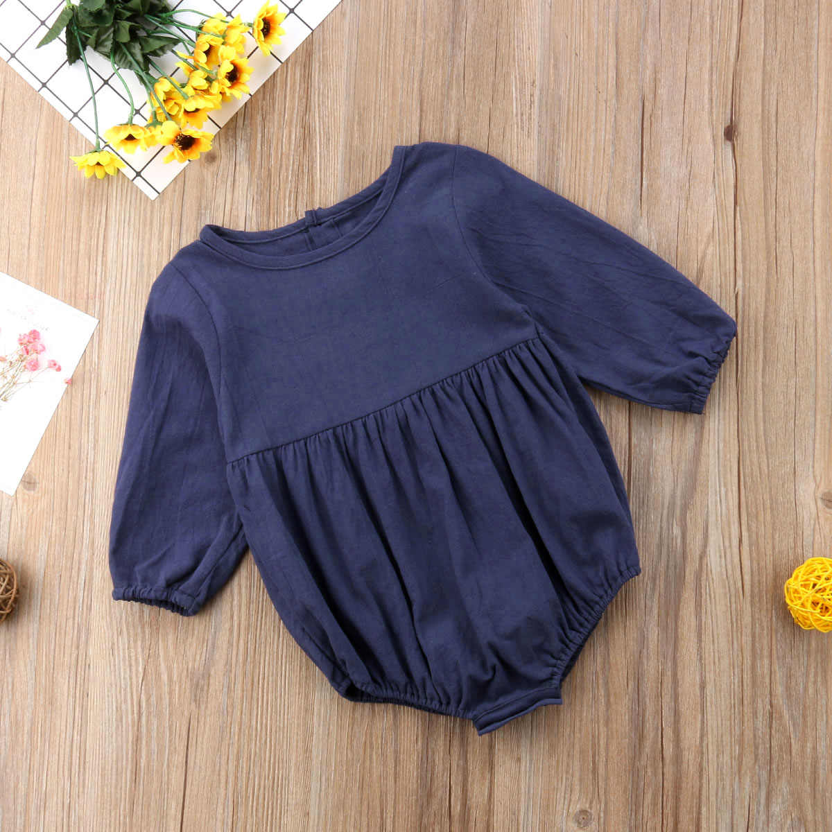 9234f9de419 ... Vintage Newborn Infant Baby Girl Rompers Solid Blue Long Sleeve  Jumpsuit Playsuit For Baby Girl Autumn ...