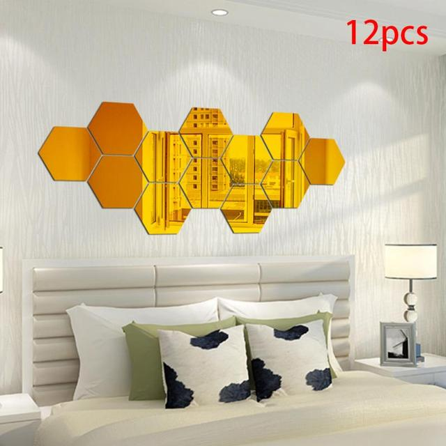 Golden Hexagon Mirror Wall Stickers Household Wall Decor Removable ...