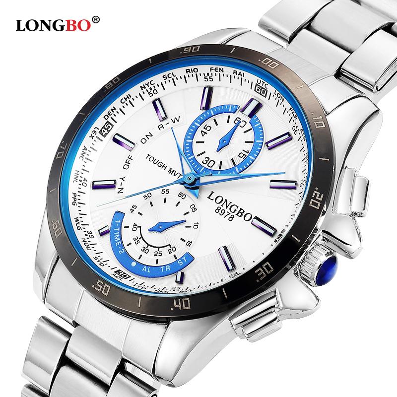 Prix pour Longbo marque de mode sport de l'armée montres hommes en acier inoxydable montre d'affaires style militaire étanche montres à quartz 8978