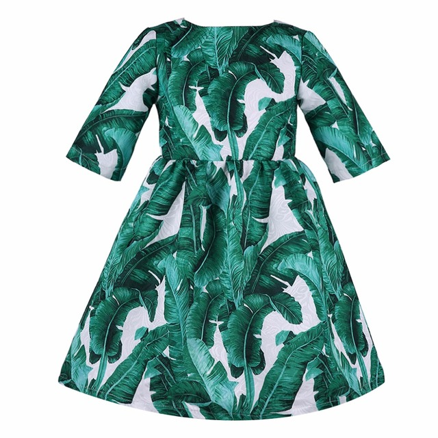 Kids Dresses for Girls 2016 Brand Baby Girls Dresses Half Sleeve Princess Dress Girls Clothes Banana Leaf  Print Children Dress