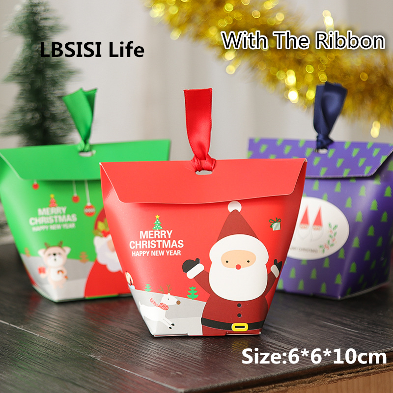 LBSISI Life 50pcs Christmas Box Cookie Candy Gift Box Paper Tree Santa Claus Snowman Star Christmas Pack Boxes With Ribbon
