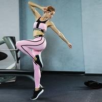 Sexy Women Sport Suit Yoga Sets Sport Wear Fitness Suit Running Leggings + Bra Workout Gym Tights Pants Sportswear Suit