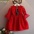 Menoea 2016 Brand New Girls Vestido de Encaje Vestidos de Princesa Hasta La Rodilla media Manga de Encaje Rojo y Blanco para Las Muchachas de Partido Del Vestido 3-7Y