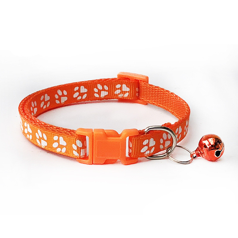 1pcs Pet Collar with Bell Lovely Small Footprint Flower Adjustable Strap Nylon Fabric Puppy Teddy Cat Kitten collier chien 2