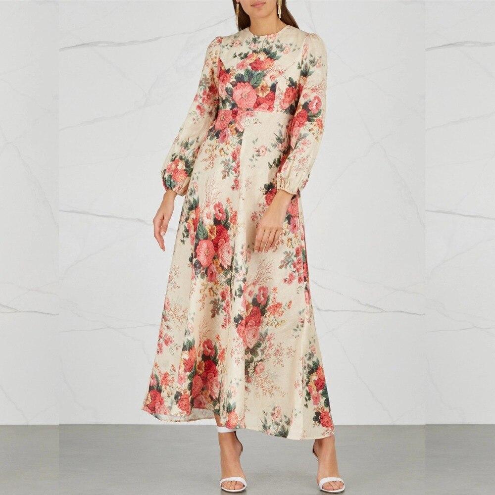 Femmes laelia lin et coton maxi robe col rond long blouson manches poignets élastiques floral-imprimé Laelia robe