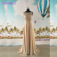 Champagne Evening Dresses Chiffon Floor Length High Neck With Spaghetti Straps Backless Cheap Evening Gown Prom