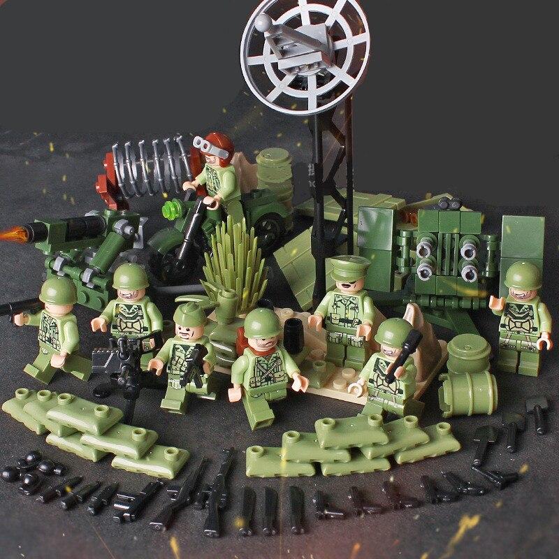 4 in 1 US Army World War 2 Military SWAT Soldier Weapon Gun Navy Seals Team Building Blocks Bricks Figures Boy Toy Gift Children
