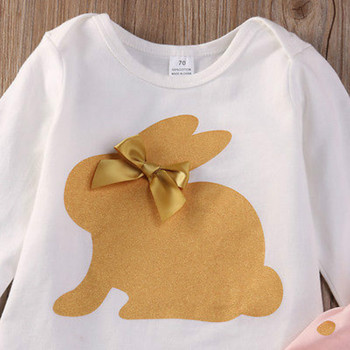 3Pcs new cute Newborn Infant Baby Girls  clothes  Summer rabbit  long sleeve bodysuit  bow   Playsuit Pants Outfits Set 1
