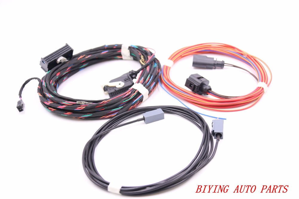 Emblem Flip rearview View Reversing logo badge flip Camera Cable Harness wire For Golf Passat CC