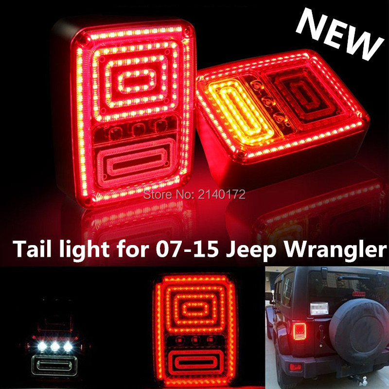 LED Tail Light Black with Clear Lens  for 07-15 Jeep Chrysler Wrangler LED Tail Lights Rear Lamps Red Yellow