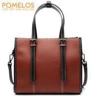 POMELOS Women Fashion Genuine Leather Totes Handbag Ladies Cow Leather Hand Bags Purse Female Versatile Crossbody