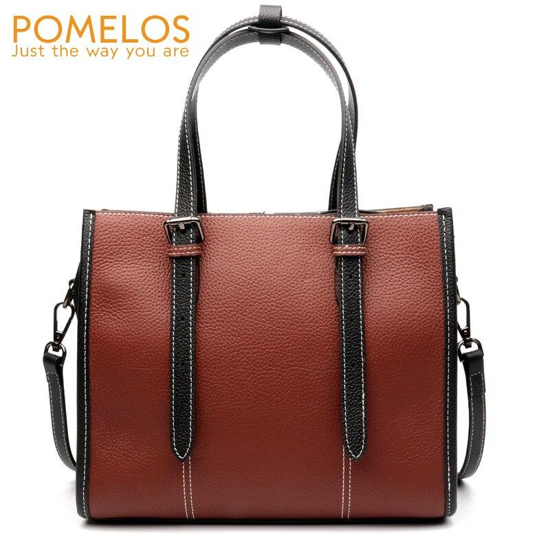 POMELOS Women Fashion Genuine Leather Totes Handbag Ladies Cow Leather Hand Bags Purse Female Versatile Crossbody Shoulder Bags