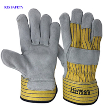 RJS SAFETY Working Gloves Cowhide Leather Men Working Welding Gloves Safety Protective Sports MOTO Wear-resisting Gloves NG7029 wear resistant cowhide welding leather sleeves of welder clothing with high temperature resistance working safety sleeves g0823