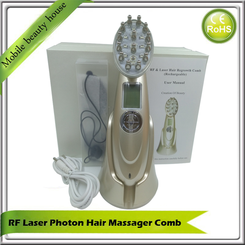 Vibrating Electric Rechargeable LCD Screen RF EMS Nurse Photon Therapy Laser Hair Growth Massager Comb Brush Vibrator hair beauty care electric laser red photon light therapy bio microcurrent stimulation hair nourishing growth massager comb