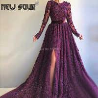Purple Pearls Muslim Evening Dresses With Long Sleeve Split Side Dubai Arabic Scoop Beach Formal Prom Dress For Party Abendkleid