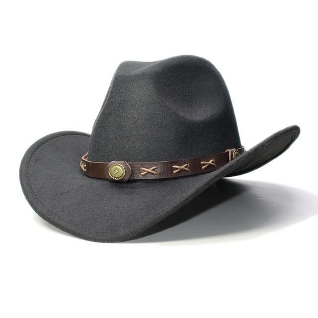 b66c66a61ea8b Vintage Women Men 100% Wool Wide Brim Cowboy Western Cowgirl Bowler Hat  Fedora Cap Coffee