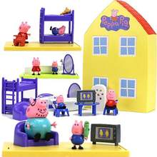 Hot 2019 Genuine Peppa Pig Peppa's - PLAYHOUSE red car bus/ Model Doll Family House Playset Action Figure Kid Toys free shipping free shipping new marvel hot movie play arts pa the red batman pvc action figure statue doll toy 27cm model toys hot sale gs060