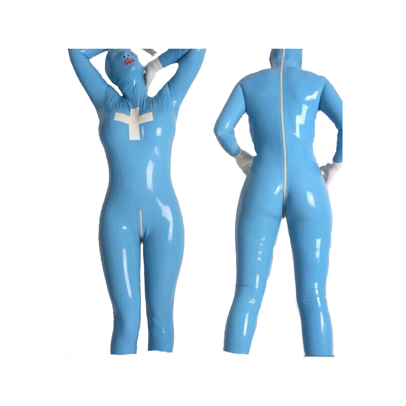 Latex Suit Rubber Unisex Nursing Catsuit Hood Full-body Bodysuit Tights Size XXS~XXL