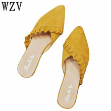 410a41aff72878 Fashion Flat Women Shoes Slip On Flat Mules Ruffles Ladies Shoes Fabric  Platform Loafer Flip Flop Pointed toe women sandals