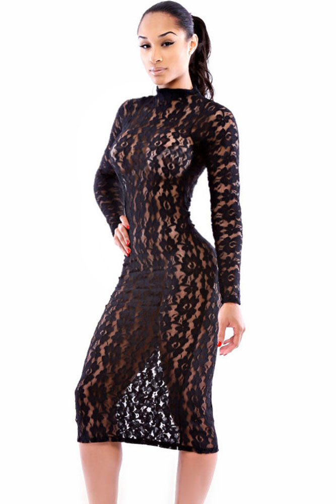 07d7ba447fd91 Womens sexy dresses party night club dress long sleeve bodycon dress hollow  out Black Lace Midi Dress vestidos femininos A6862-in Dresses from Women's  ...