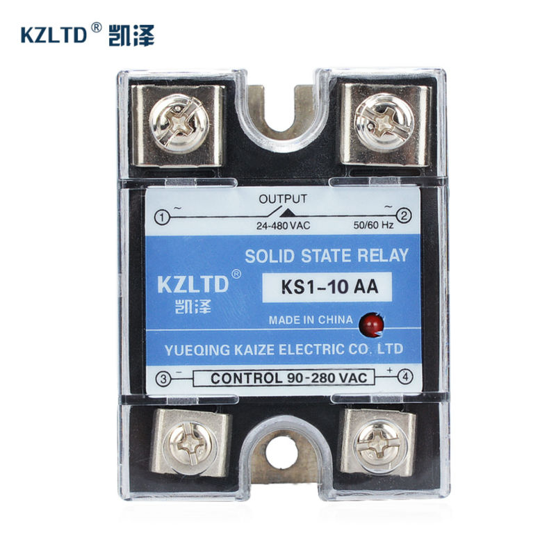 SSR-10AA Solid State Relay  90~280V AC to 24~480V AC rele de estado solido 10A Low Power Sealed No Noise KS1-10AA