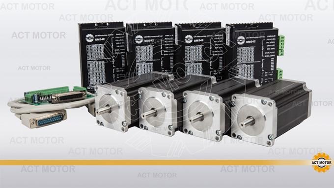 ACT Motor 4PCS Nema 23 Stepper Motor Single Shaft 23HS2430 3A 425oz-in 112mm+4PCS Driver 4.2A 50V 128Micro US UK DE FR IT Free