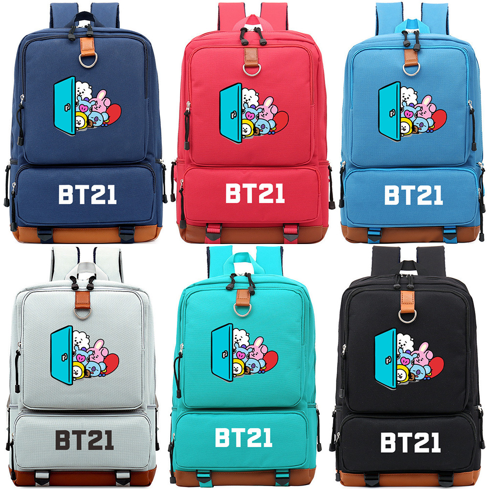 Student Backpack Schoolbags Canvas Rabbit Colorful Children Cartoon KPOP Teenagers Pig