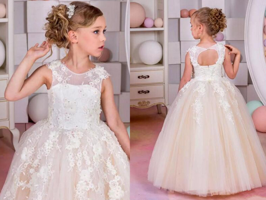 White Lace Hot Sale Cheap Flower Girl Dresses for Weddings Tulle Ball Gowns Birthday Gown Little Girls First Communion Dresses princess ball gown red lace flower girls dresses for weddings birthday communion kids stage performance