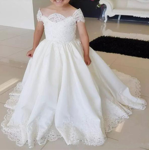 2018 Princess Flower Girl Dresses Ball Gown Bateau Sweep Train Girls Pageant Dresses For Wedding Communion Gown White Ivory 2018 princess white flower girl dresses for wedding ball gown sweep train girls pageant dresses lace tulle for wedding party