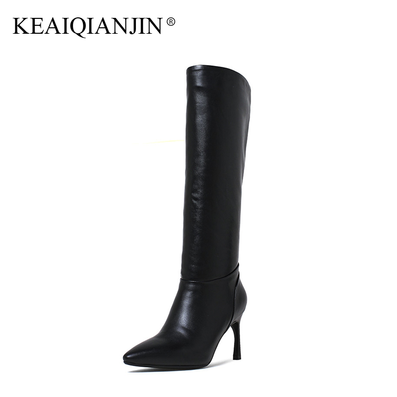KEAIQIANJIN Woman Knee High Botas Autumn Winter Genuine Leather Pointed Toe Shoes Plus Size 33 - 43 Black High Heel Boots 2017