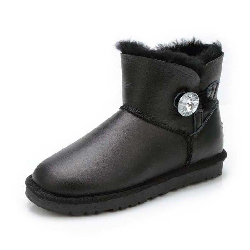 2019 najwyższej jakości 100% prawdziwa skóra jagnięca skórzane buty zimowe wodoodporne kobiety śnieg buty naturalne futro kobiety moda botki w Buty do kostki od Buty na  Grupa 1