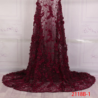 Nigerian Lace Fabric 2018 High Quality Lace 3D Flowers Tulle Fabric French Plenty Beaded And Sequins Lace Fabric QF2118B