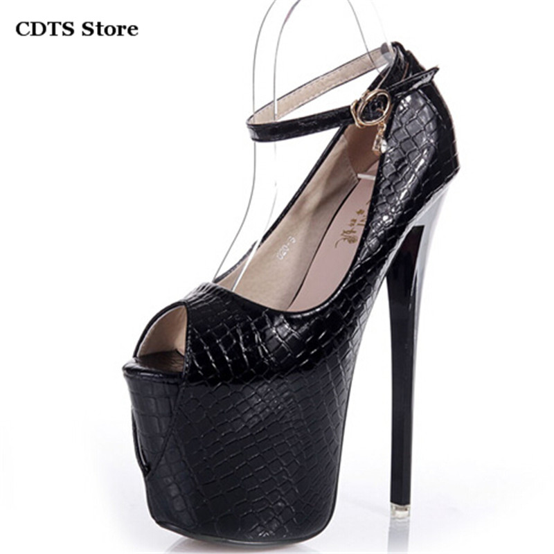 ФОТО CDTS zapatos Summer Open Toe Sandals High-heeled women 19cm Thin heels platform sexy shoes female Patent Leather Buckle Pumps